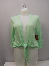 Buy Womens Shrug Slub Tie Front Wrap SIZE XL FADED GLORY Solid Mint 3/4 Sleeves