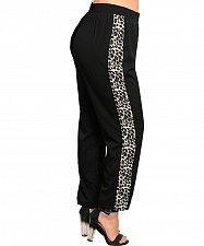 Buy Womens Pants PLUS SIZE 2X 3X WAPI Black Animal Print Elastic Waist Straight Legs