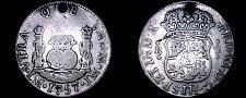 Buy 1757/6-LM JM Peruvian 2 Reales World Silver Coin - Peru - Holed - Pillar Dollar