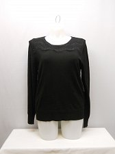 Buy PLUS SIZE 20 Womens Sweater GEORGE Solid Black Lace Yoke Scoop Neck Long Sleeves