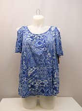 Buy PLUS SIZE 1X Women Top FRENCH LAUNDRY Blue Short Cold shoulder Sleeve Pullover