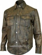 Buy Mens SOFT Distressed Brown PREMIUM Leather Shirt CONCEALED CARRY Pistol Pocket