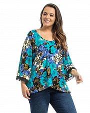 Buy PLUS SIZE 1X Knit Top TAKUNI Blue Floral Black Lace Trim ¾ Sleeves Scoop Neck