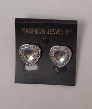 Buy Women Fashion Stud Earrings Hearts Silver Tones Rhinestones FASHION JEWELRY