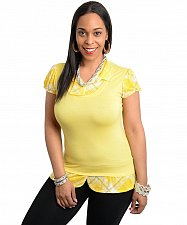 Buy Size 1XL 3XL Womens Twofer Knit Top JANETTE PLUS Yellow Layered Short Sleeves