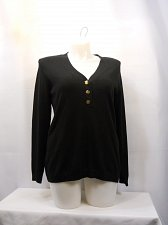 Buy Women Henley Sweater CHARTER CLUB PLUS SIZE 0X Black Button V-Neck Long Sleeves