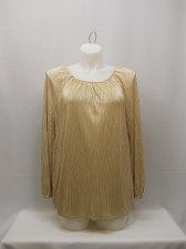 Buy SIZE L Womens Shiny Top FADED GLORY Solid Gold Scoop Neck Long Sleeves Evening