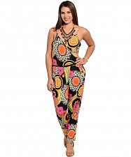 Buy SIZE XL Womens Jumpsuit JANETTE PLUS Multi Color Geometric V-Neck Straps Belted