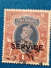 Buy British India 1937 King George VI Re. 1 Good Used Service Overprinted Stamp