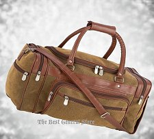 "Buy Brown 23"" Faux Leather Lined Tote Duffle Bag Luggage Gym Travel Overnight Sport"