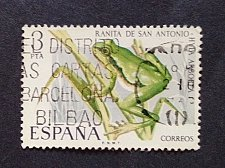 Buy Spain 1 v used stamp 1975 Endangered Wildlife European Tree Frog mi 2166