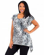 Buy PLUS SIZE 1X Women Asymmetrical Top BRITTANY BLACK Tunic Jeweled Cap Sleeves