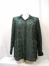 Buy Women Lace Shirt CHARTER CLUB PLUS SIZE 14W Solid Emerald Green Long Sleeves