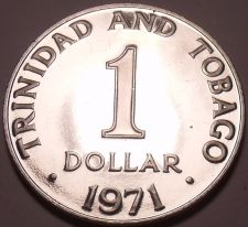 Buy Rare Proof Trinidad & Tobago 1971 Dollar~12,000 Minted~Only Year This Type~Fr/Sh