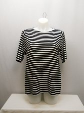 Buy Womens Knit Top CHARTER CLUB PLUS SIZE 2X Black Striped Boat Neck Short Sleeves