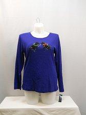 Buy PLUS SIZE 1X Women Knit Top KAREN SCOTT Blue Ugly Christmas Embellished