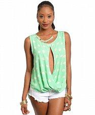 Buy Womens Shirttail Top Size S-M MULATA Mint Floral Split Front Sleeveless Scoop Ne