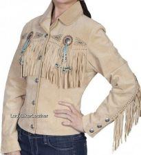 Buy LADIES Beaded WESTERN Fringe CREAM or BLACK Premium SUEDE Leather Jacket CONCHOS