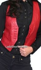 Buy Ladies Biker SOFT SUPPLE Lambskin RED Lamb Leather VEST Button Front LAPELS Pkts