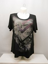 Buy PLUS SIZE 2X Women Knit Top Black Geometric Print JMS Scoop Neck Short Sleeves