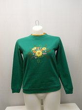 Buy Womens Sweatshirt SIZE L Green Floral Long Sleeves Crewneck