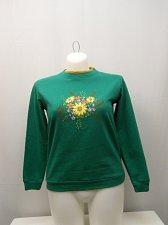 Buy Womens Sweatshirt SIZE L Green Floral Long Sleeves Crewneck