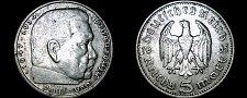 Buy 1935-J German 5 Reichsmark World Silver Coin - Germany 3rd Reich - Hindenburg