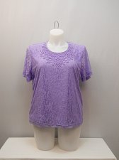 Buy Womens Knit Top SIZE XL Solid Purple Lace Short Sleeves Pullover