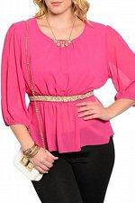 Buy PLUS SIZE 1XL 2XL 3XL Womens Sheer Peplum Top C.O.C. Magenta Chiffon Embellished