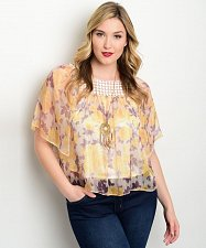 Buy Women Top Size 1XL 3XL Floral Lined JA&JA Square Neck Sheer Batwing Sleeves