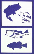 Buy Bass (Fish) Stencils-2 pc Set-14 Mil Mylar- Painting/Crafts/Template