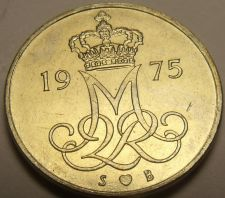 Buy Denmark 1975-H.S.B. 10 Ore Gem Unc~Oak Leaves~Crowned Monogram~Free Shipping