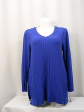 Buy PLUS SIZE 0X 1X Women Sweater JM COLLECTION Solid Royal Blue Long Sleeve V-Neck