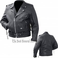 Buy Mens Black Solid Cowhide Leather Classic Biker Style Motorcycle Belted Jacket