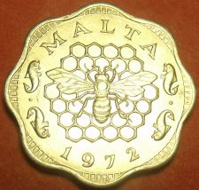 Buy Malta 1972 3 Mils Gem Unc~1st Year Ever~Bee And Honeycomb~Free Shipping