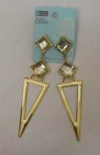 Buy Women Fashion Drop Dangle Earrings Gold Tones Triangle Rhinestones ELLA Push Bac