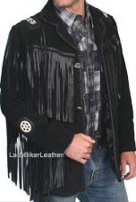 Buy Mens Biker BEADED Black PREMIUM Soft SUEDE Leather TRIBAL FRINGE Western Jacket