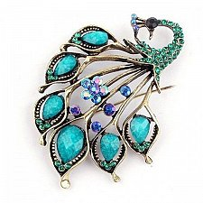 Buy Antique Gold Turquoise Peacock Brooch Pin Resin Brooches Jewelry Garment Decora