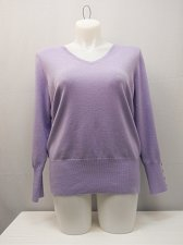 Buy PLUS SIZE 2X Women Sweater JM COLLECTION Solid Lilac V Neck Long Sleeves Pullov