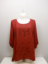 Buy PLUS SIZE 2X 3X Womens Sheer Top WAPI Burgundy ¾ Sleeve Pleather Trim Scoop Neck