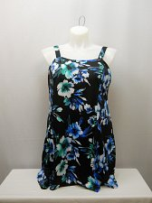 Buy PLUS SIZE 22 Women 1PC Flare Swimdress SWIM365 Black Floral Adjustable Straps