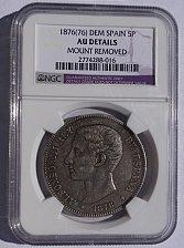 Buy 1875(75)-DEM Spanish 5 Peseta World Silver Coin - Spain - NGC AU Details