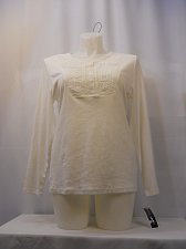Buy Womens T-Shirts KAREN SCOTT Size XL Solid White Button Scoop Neck Long Sleeves