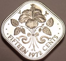 Buy Rare Proof Bahamas 1972 15 Cents~Triangle Coin~Hibiscus~35,000 Minted~Free Ship