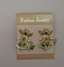 Buy Women Earrings Fashion CHRISTMAS ANGLES Rhinestones Push Back Fasteners FASHION