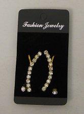 Buy Women Fashion Earrings Stud Climber Set Gold Tones Rhinestones FASHION JEWELRY