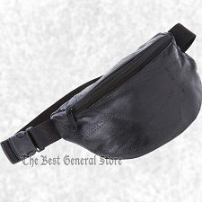 "Buy 9"" Black Leather Waist Bag Fanny Pack Belt Hip Man Women Travel Pouch 40"" Waist"