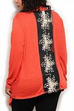 Buy SIZE 1XL Womens Wrap Swing Cardigan ANGELA Solid Rust Embellished Mesh Back