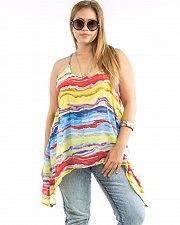Buy Womens Top Sheer Chiffon PLUS SIZE 1X TAKUNI Watercolors Racerback Asymmetrical
