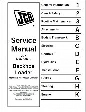 Buy JCB 2CX, 2CXU, 210S, 210SU Backhoe Loader Service Workshop Manual CD --- 2 CX